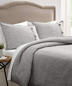 Stone Beam Wooden Button Farmhouse Duvet Cover Set King Grey 0 300x360