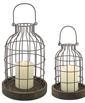 Stonebriar Rustic Metal Wire Cage Cloche Set With Rustic Wooden Bases Industrial And Farmhouse Home Decor Accents Display Flowers Succulents Air Plants Fairy Lights Decorative Fill And More 0 300x360