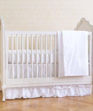 Summer 4 Piece Classic Bedding Set With Adjustable Crib Skirt Swiss Dot 0 300x360