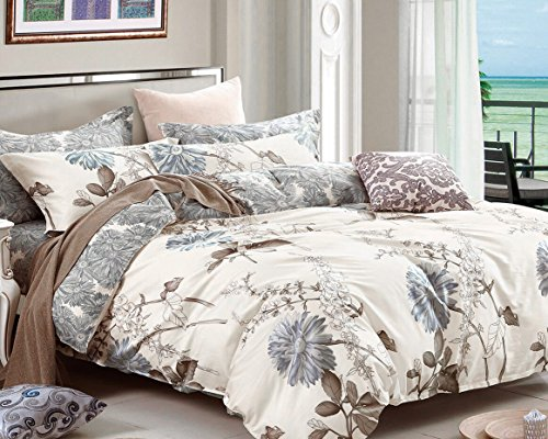 Swanson Beddings Daisy Silhouette Reversible Floral Print 3 Piece 100 Cotton Bedding Set Duvet Cover And Two Pillow Shams California King 0 0