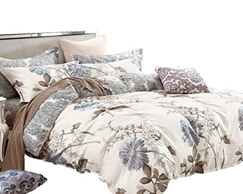 Swanson Beddings Daisy Silhouette Reversible Floral Print 3 Piece 100 Cotton Bedding Set Duvet Cover And Two Pillow Shams California King 0