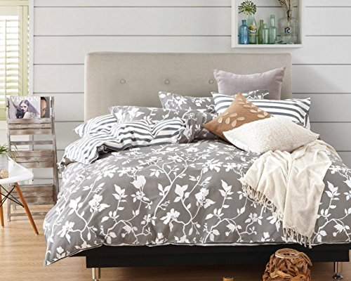 Swanson Beddings Leafy Vines 3 Piece 100 Cotton Bedding Set Duvet Cover And Two Pillow Shams Oversized King 0 0