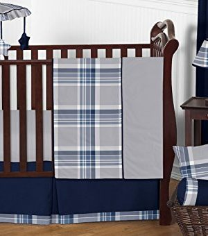 Sweet Jojo Designs 11 Piece Rustic Designer Navy Blue And Gray Boys Plaid Baby Bedding Crib Set Without Bumper 0 300x340