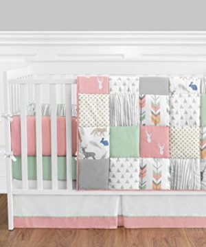 Sweet Jojo Designs 9 Piece Coral Mint And Grey Woodsy Deer Girls Baby Bedding Crib Set With Bumper 0 300x360