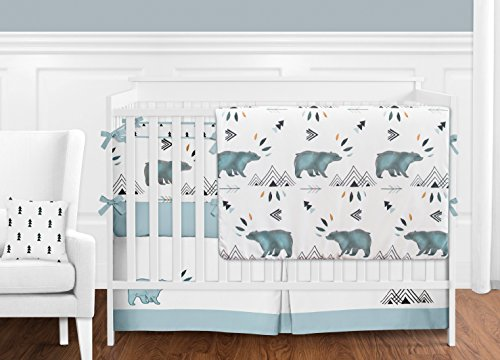 Sweet Jojo Designs Baby Or Toddler Fitted Crib Sheet For Bear Mountain Watercolor Collection 0 1