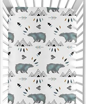 Sweet Jojo Designs Baby Or Toddler Fitted Crib Sheet For Bear Mountain Watercolor Collection 0 300x360