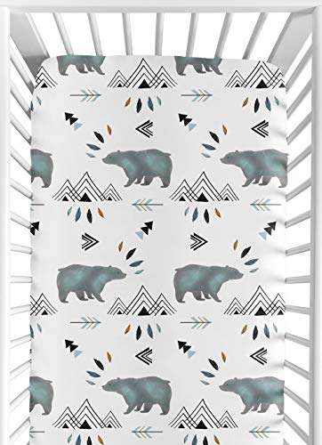 Sweet Jojo Designs Baby Or Toddler Fitted Crib Sheet For Bear Mountain Watercolor Collection 0
