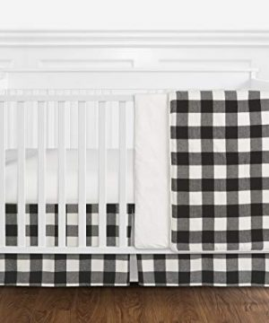 Sweet Jojo Designs Black And White Rustic Farmhouse Woodland Flannel Buffalo Plaid Check Baby Unisex Boy Or Girl Nursery Crib Bedding Set Without Bumper 4 Pieces Country Lumberjack 0 300x360