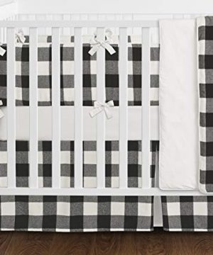 Sweet-Jojo-Designs-Black-and-White-Rustic-Farmhouse-Woodland-Flannel-Buffalo-Plaid-Check-Baby-Unisex-Boy-or-Girl-Nursery-Crib-Bedding-Set-with-Bumper-9-Pieces-Country-Lumberjack-0-0