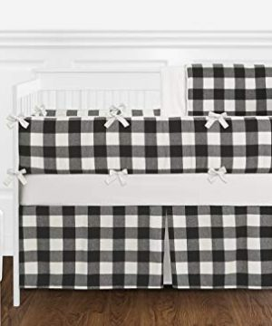 Sweet Jojo Designs Black And White Rustic Farmhouse Woodland Flannel Buffalo Plaid Check Baby Unisex Boy Or Girl Nursery Crib Bedding Set With Bumper 9 Pieces Country Lumberjack 0 300x360