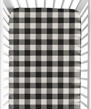 Sweet Jojo Designs Black And White Rustic Farmhouse Woodland Flannel Unisex Boy Or Girl Baby Or Toddler Fitted Crib Sheet For Buffalo Plaid Check Collection Country Lumberjack 0 300x360