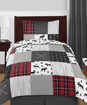 Sweet Jojo Designs Black And White Woodland Moose Twin Sheet Rustic Patch Collection 3 Piece Set 0 0 300x360