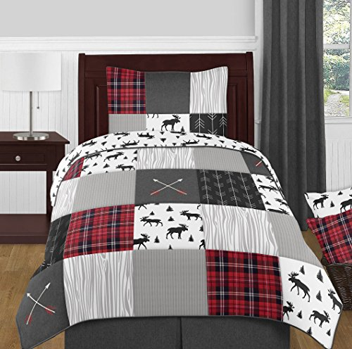 Sweet Jojo Designs Black And White Woodland Moose Twin Sheet Rustic Patch Collection 3 Piece Set 0 0