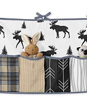 Sweet Jojo Designs Blue Tan Grey And Black Woodland Plaid And Arrow Rustic Patch Baby Boy Nursery Crib Bedding Set Without Bumper 11 Pieces 0 0 300x350