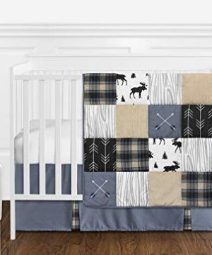 Sweet Jojo Designs Blue Tan Grey And Black Woodland Plaid And Arrow Rustic Patch Baby Boy Nursery Crib Bedding Set Without Bumper 11 Pieces 0 300x360