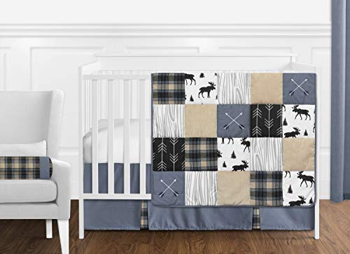 Sweet Jojo Designs Blue Tan Grey And Black Woodland Plaid And Arrow Rustic Patch Baby Boy Nursery Crib Bedding Set Without Bumper 11 Pieces 0