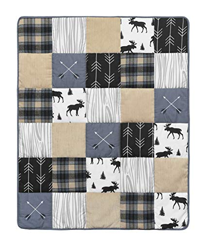 Sweet Jojo Designs Blue Tan Grey And Black Woodland Plaid And Arrow Rustic Patch Baby Boy Nursery Crib Bedding Set Without Bumper 4 Pieces 0 1