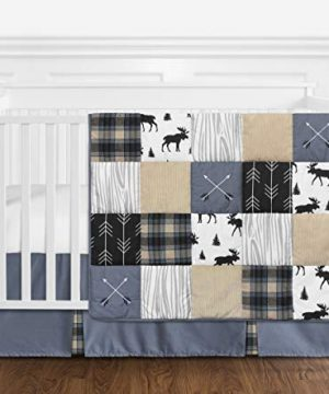 Sweet Jojo Designs Blue Tan Grey And Black Woodland Plaid And Arrow Rustic Patch Baby Boy Nursery Crib Bedding Set Without Bumper 4 Pieces 0 300x360