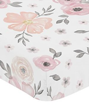 Sweet Jojo Designs Blush Pink Grey And White Baby Or Toddler Fitted Crib Sheet For Watercolor Floral Collection 0 0 300x360
