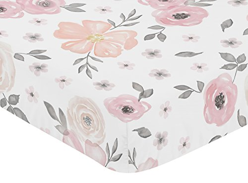 Sweet Jojo Designs Blush Pink Grey And White Baby Or Toddler Fitted Crib Sheet For Watercolor Floral Collection 0 0