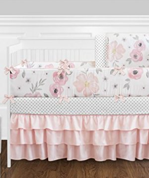 Sweet Jojo Designs Blush Pink Grey And White Baby Or Toddler Fitted Crib Sheet For Watercolor Floral Collection 0 1 300x360