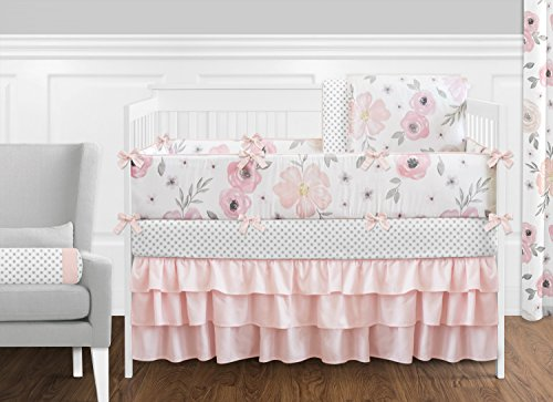Sweet Jojo Designs Blush Pink Grey And White Baby Or Toddler Fitted Crib Sheet For Watercolor Floral Collection 0 1