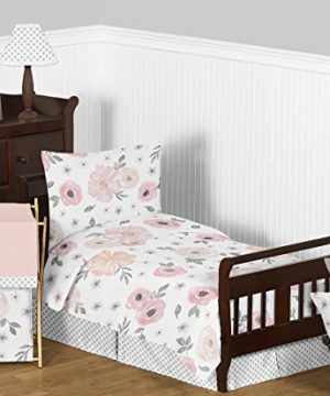Sweet Jojo Designs Blush Pink Grey And White Baby Or Toddler Fitted Crib Sheet For Watercolor Floral Collection 0 2 300x360