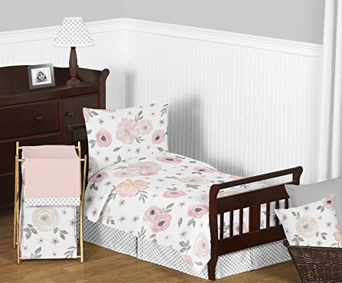 Sweet Jojo Designs Blush Pink Grey And White Baby Or Toddler Fitted Crib Sheet For Watercolor Floral Collection 0 2