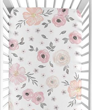 Sweet Jojo Designs Blush Pink Grey And White Baby Or Toddler Fitted Crib Sheet For Watercolor Floral Collection 0 300x360