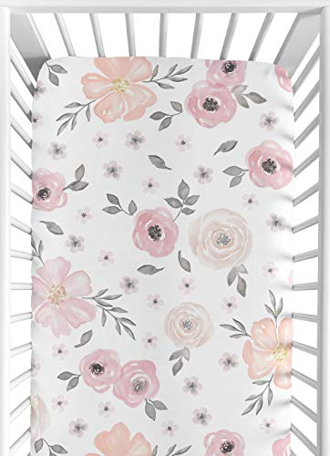 Sweet Jojo Designs Blush Pink Grey And White Baby Or Toddler Fitted Crib Sheet For Watercolor Floral Collection 0
