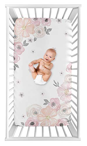 Sweet Jojo Designs Blush Pink Grey And White Photo Op Baby Or Toddler Fitted Crib Sheet For Watercolor Floral Collection 0