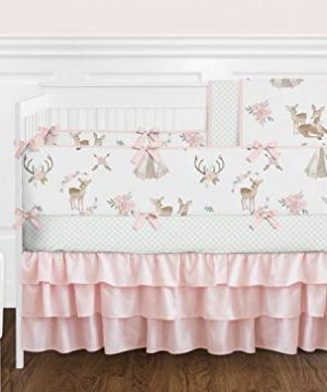 Sweet Jojo Designs Blush Pink Mint Green And White Boho Baby Or Toddler Fitted Crib Sheet For Woodland Deer Floral Collection 0 1 300x360