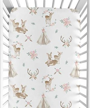 Sweet Jojo Designs Blush Pink Mint Green And White Boho Baby Or Toddler Fitted Crib Sheet For Woodland Deer Floral Collection 0 300x360