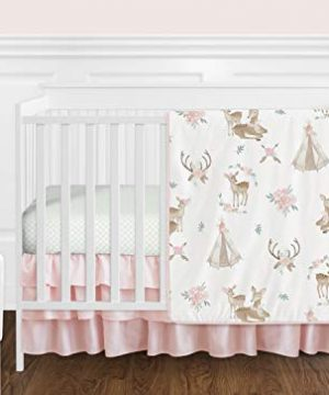 Sweet Jojo Designs Blush Pink Mint Green And White Boho Watercolor Woodland Deer Floral Baby Girl Crib Bedding Set Without Bumper 11 Pieces 0 300x360