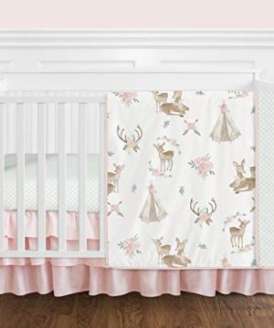 Sweet Jojo Designs Blush Pink Mint Green And White Boho Watercolor Woodland Deer Floral Baby Girl Crib Bedding Set Without Bumper 4 Pieces 0 300x360