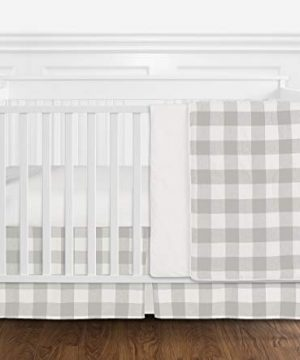 Sweet Jojo Designs Gray And White Rustic Farmhouse Woodland Flannel Grey Buffalo Plaid Check Baby Unisex Boy Or Girl Nursery Crib Bedding Set Without Bumper 4 Pieces Country Lumberjack 0 300x360
