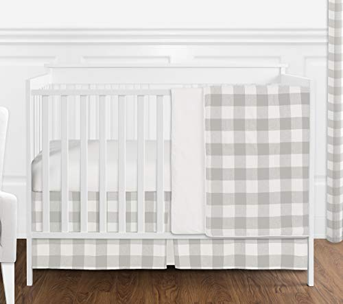 Sweet Jojo Designs Gray And White Rustic Farmhouse Woodland Flannel Grey Buffalo Plaid Check Baby Unisex Boy Or Girl Nursery Crib Bedding Set Without Bumper 4 Pieces Country Lumberjack 0