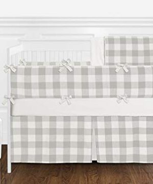 Sweet Jojo Designs Gray And White Rustic Farmhouse Woodland Flannel Unisex Boy Girl Nursery Crib Bedding Set With Bumper 9 Pieces For Grey Buffalo Plaid Check Collection Country Lumberjack 0 300x360