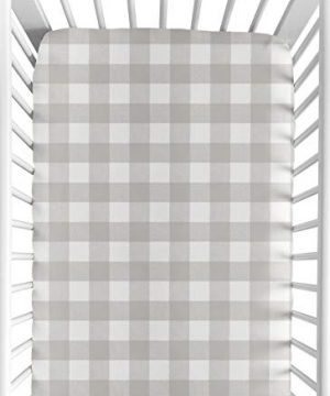 Sweet Jojo Designs Gray And White Rustic Farmhouse Woodland Flannel Unisex Boy Or Girl Baby Or Toddler Fitted Crib Sheet For Grey Buffalo Plaid Check Collection Country Lumberjack 0 300x360