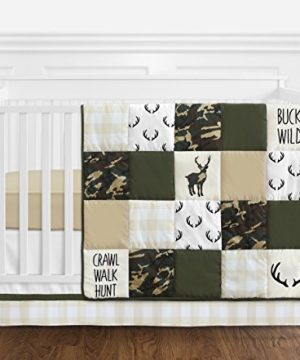 Sweet Jojo Designs Green And Beige Deer Buffalo Plaid Check Woodland Camo Baby Boy Crib Bedding Set Without Bumper 4 Pieces Rustic Camouflage 0 300x360
