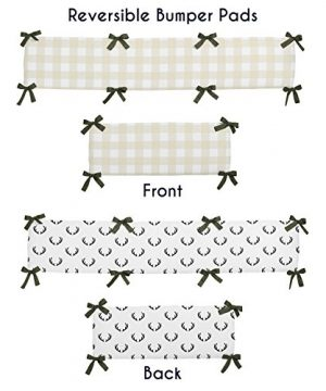 Sweet Jojo Designs Green And Beige Deer Buffalo Plaid Check Woodland Camo Baby Boy Crib Bedding Set With Bumper 9 Pieces Rustic Camouflage 0 0 300x360