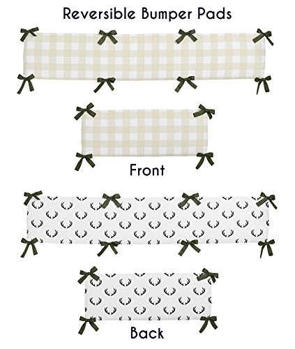 Sweet Jojo Designs Green And Beige Deer Buffalo Plaid Check Woodland Camo Baby Boy Crib Bedding Set With Bumper 9 Pieces Rustic Camouflage 0 0