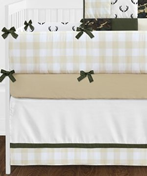 Sweet Jojo Designs Green And Beige Deer Buffalo Plaid Check Woodland Camo Baby Boy Crib Bedding Set With Bumper 9 Pieces Rustic Camouflage 0 3 300x360