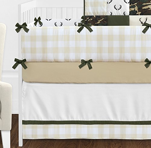 Sweet Jojo Designs Green And Beige Deer Buffalo Plaid Check Woodland Camo Baby Boy Crib Bedding Set With Bumper 9 Pieces Rustic Camouflage 0 3