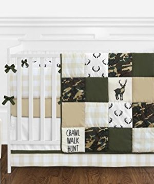 Sweet Jojo Designs Green And Beige Deer Buffalo Plaid Check Woodland Camo Baby Boy Crib Bedding Set With Bumper 9 Pieces Rustic Camouflage 0 300x360