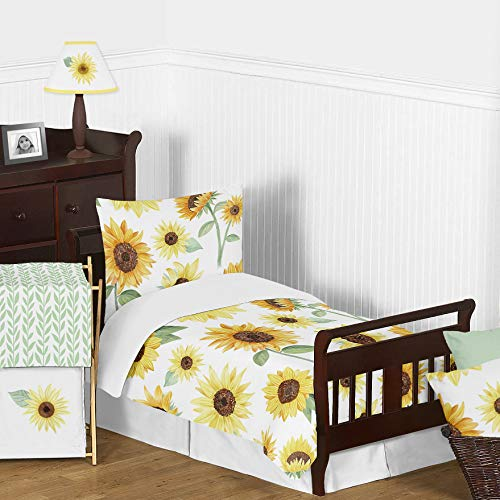 Sweet Jojo Designs Green And White Leaf Floral Girl Baby Or Toddler Nursery Fitted Crib Sheet Boho Farmhouse Sunflower Collection 0 1