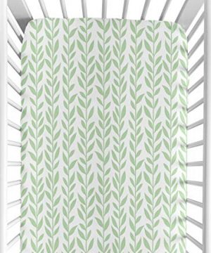 Sweet Jojo Designs Green And White Leaf Floral Girl Baby Or Toddler Nursery Fitted Crib Sheet Boho Farmhouse Sunflower Collection 0 300x360