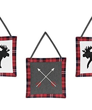 Sweet Jojo Designs Grey Black And Red Woodland Plaid And Arrow Rustic Patch Baby Boy Crib Bedding Set Without Bumper 11 Pieces Flannel Moose Gray 0 0 300x357