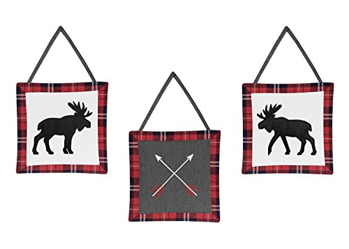Sweet Jojo Designs Grey Black And Red Woodland Plaid And Arrow Rustic Patch Baby Boy Crib Bedding Set Without Bumper 11 Pieces Flannel Moose Gray 0 0