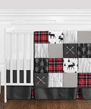 Sweet Jojo Designs Grey Black And Red Woodland Plaid And Arrow Rustic Patch Baby Boy Crib Bedding Set Without Bumper 11 Pieces Flannel Moose Gray 0 300x360